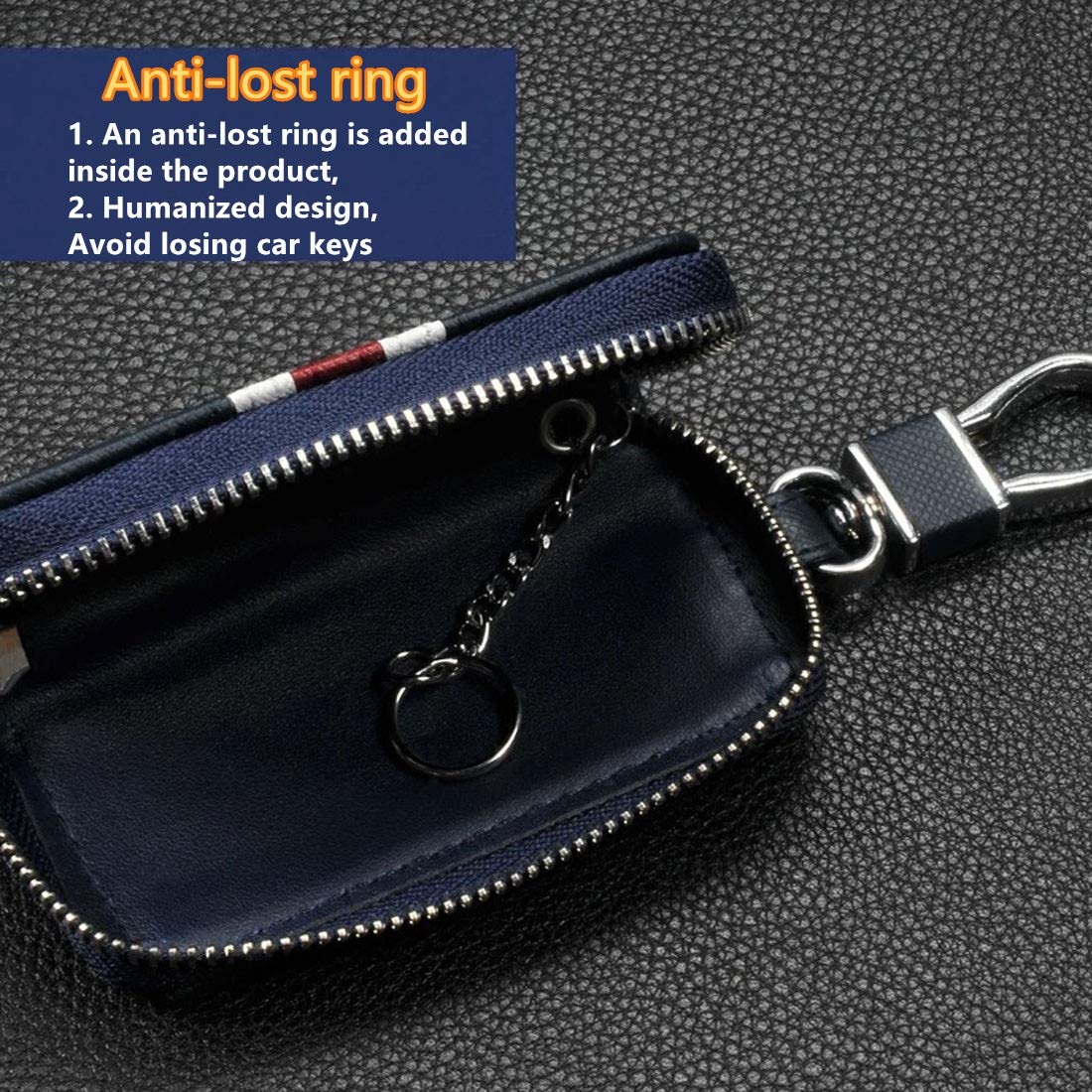 Blue WeChance Universal Car Key case Bag Wallet,Superior Stripe Genuine Leather Car Smart Key Chain Keychain Holder Metal Hook and Keyring Fashion Zipper Bag for Remote Key Fob
