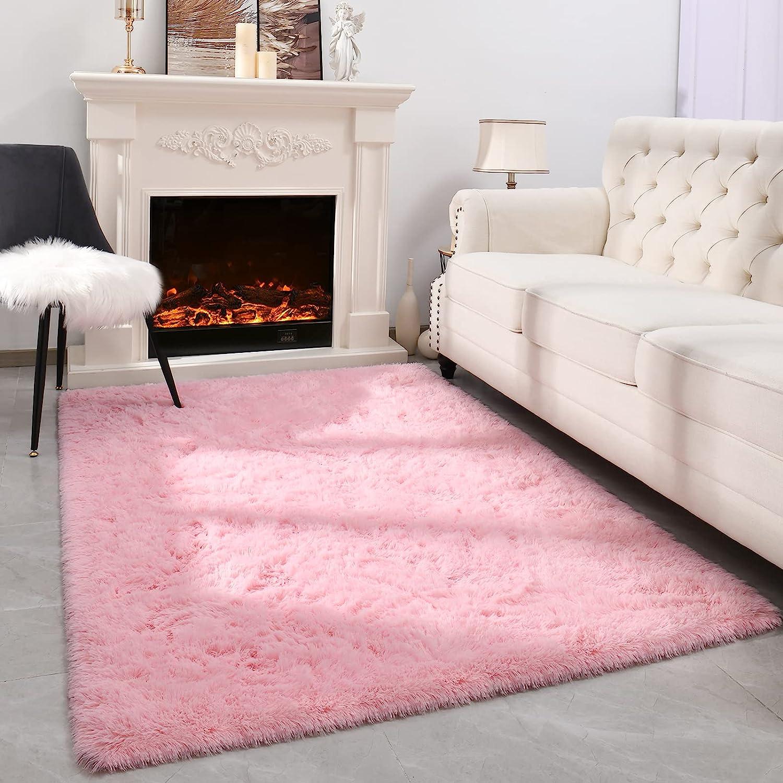 Espiraio Pink Area Rug for Living Room, Premium Faux Fur Fluffy Bedroom Rug, Cute Room Decor for Teen Girls Boys Carpets, 4x5.9 Kids Baby Nursery Playroom Dorm Rug, Soft Furry Office Plush Shag Rugs