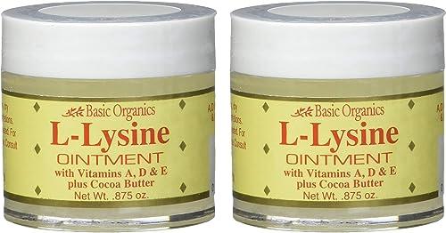 Basic Organics L-Lysine Lip Ointment, 0.875 oz 2 Pack