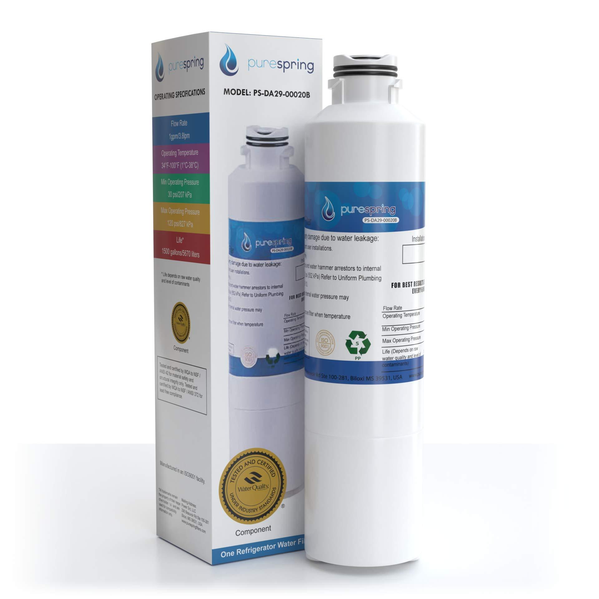 PureSpring Samsung-DA29-00020B Refrigerator Water-Filter Compatible Cartridge - Replaces Samsung DA29-00020B, DA29-00020A, HAF-CIN/EXP, Kenmore 46-9101 (1 pack)