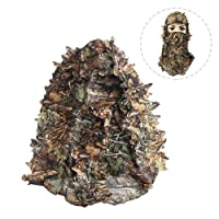 Ljourney Outdoor Tactical Camouflage Hood, 3D Leafy Breathable Full Face Hunting Mask Elastic Universal Size Fit for Most People
