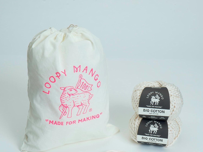 Loopy Mango DIY Knit Kit Cotton Mini Market Fringe Bag STORMY NIGHT
