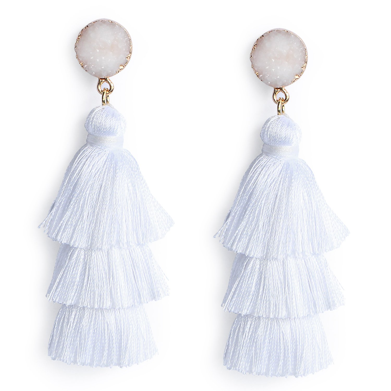 Me&Hz White Tassel Earrings Handmade Tiered Thread Summer White Tassel Dangle Earrings with Druzy Stud Handmade Jewelry