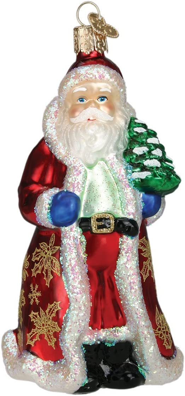 Old World Christmas Assortment Glass Blown Ornaments for Christmas Tree Glistening Golden Santa