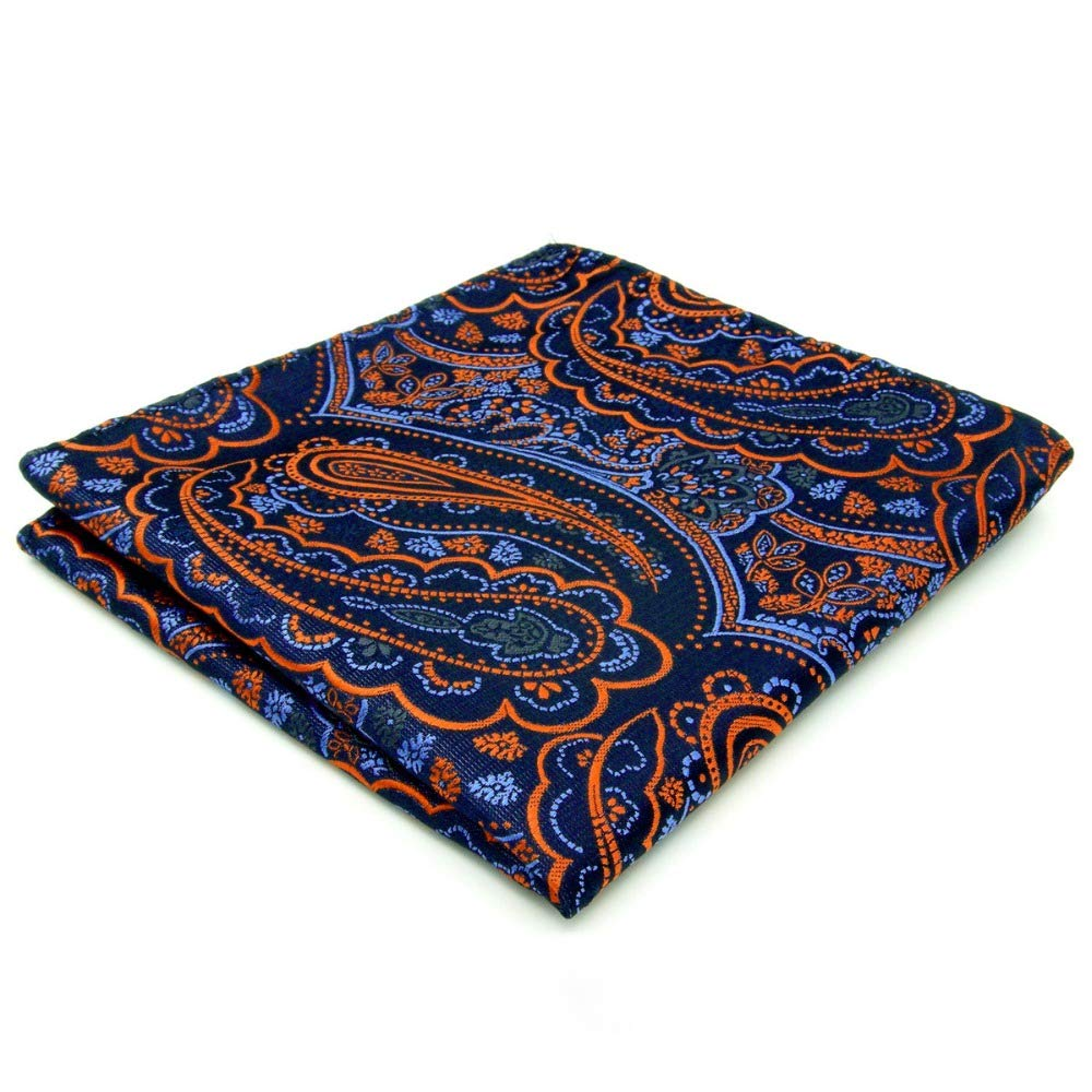Shlax& Wing Paisley Orange Blue Black Pocket Square Mens Hankies Hanky QH8