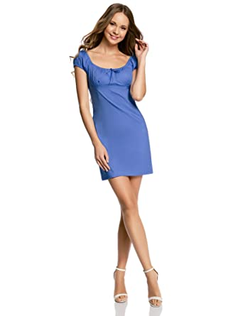 oodji Ultra Damen Baumwoll-Kleid mit Raffungen auf der Brust, Blau, DE 32