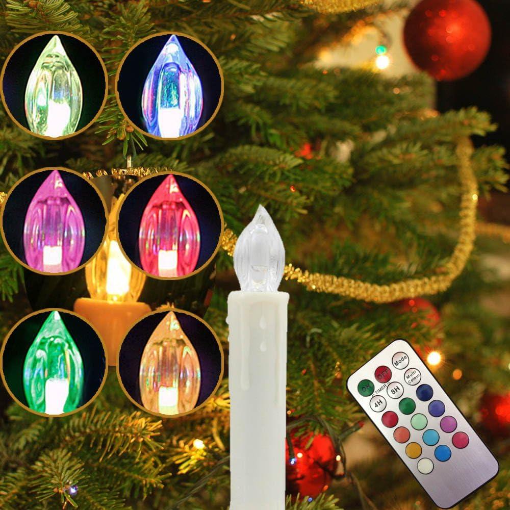RGB LED Weihnachtskerzen Weihnachtsbaum Beleuchtung Hochzeit Partys Lichterkette