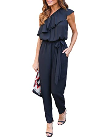 4b93e8e423ef1 Amazon.com  Kebinai Unique One Shoulder Long Jumpsuits Women Slim Belted  Ruffle Bodysuit Chiffon Body Suit  Clothing
