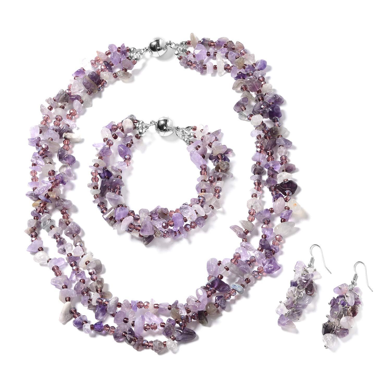 Silvertone, Stainless Steel Fancy Amethyst, Purple Glass Bracelet 8'' Earring Necklace 20'' Set for Women