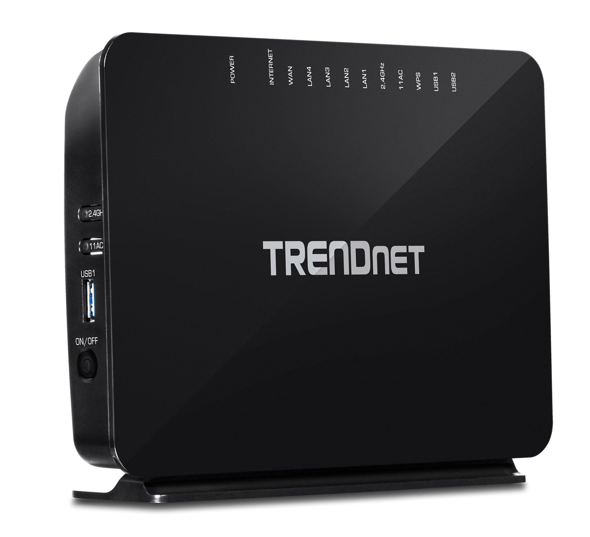 TRENDnet AC750 Wireless VDSL2/ADSL2+ Modem Router, 200 Mbps VDSL Downstream Speeds, USB share ports, TEW-816DRM by TRENDnet
