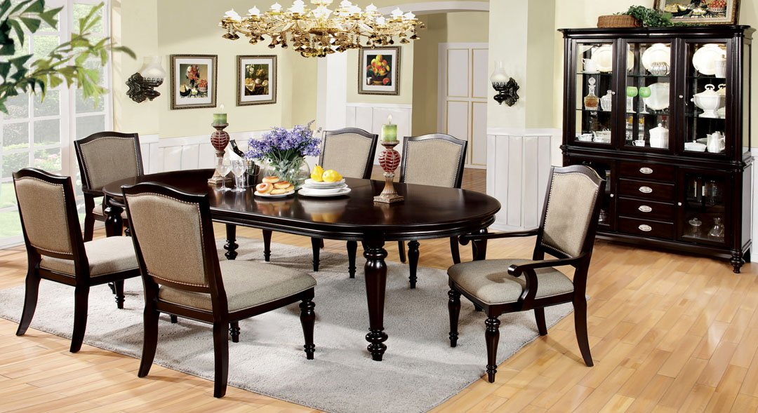 Amazoncom Pc Harrington Dark Walnut Finish Wood Elegant Formal - Dark walnut dining table and chairs