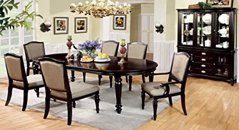 Outstanding Amazon Com 7 Pc Harrington Dark Walnut Finish Wood Elegant Cjindustries Chair Design For Home Cjindustriesco