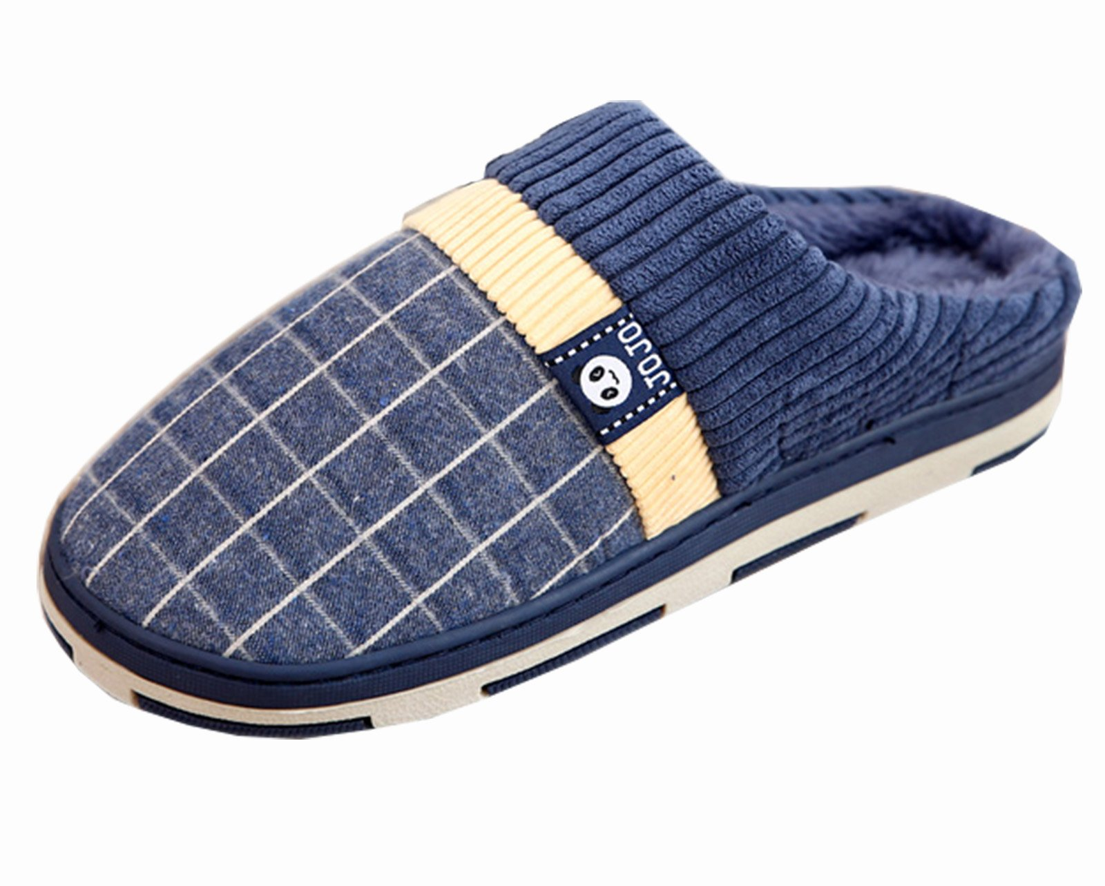 HFT Men's Square Imitation Ox-tendon Sole Indoor Home Shoes Winter Slippers Cotton Slippers