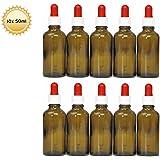 10 x 50 ml Pipettenflaschen mit Glaspipette, z.B. für E-Liquids oder DMSO, Braunglasflaschen mit Dosierpipette bzw. Apothekerflaschen mit Tropfpipette, Licht-Schutz, inkl. Beschriftungsetiketten