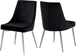 "Meridian Furniture Karina Collection Modern | Contemporary Velvet Upholstered Dining Chair with Sturdy Metal Legs, Set of 2, 19.5"" W x 21.5"" D x 33.5"" H, Black"