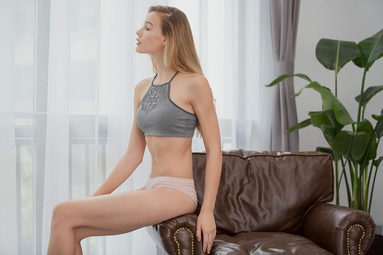 Ruxia Womens Hipster Panties Seamless Low-Rise Cheekini Panty Soft Stretch Bikini Underwear Multi Colors,Pack of 5