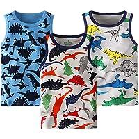 Frogwill Boys Tank Top Dinosaur Printed 3 Pack Undershirt 18M-5Y