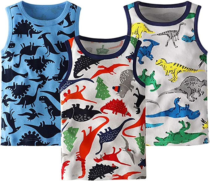 Evercute Baby Toddler Boys Tank Tops 3-4 Pack 100/% Cotton Dianosaurs Sharks Transport Sleeveless Shirts for Little Boys