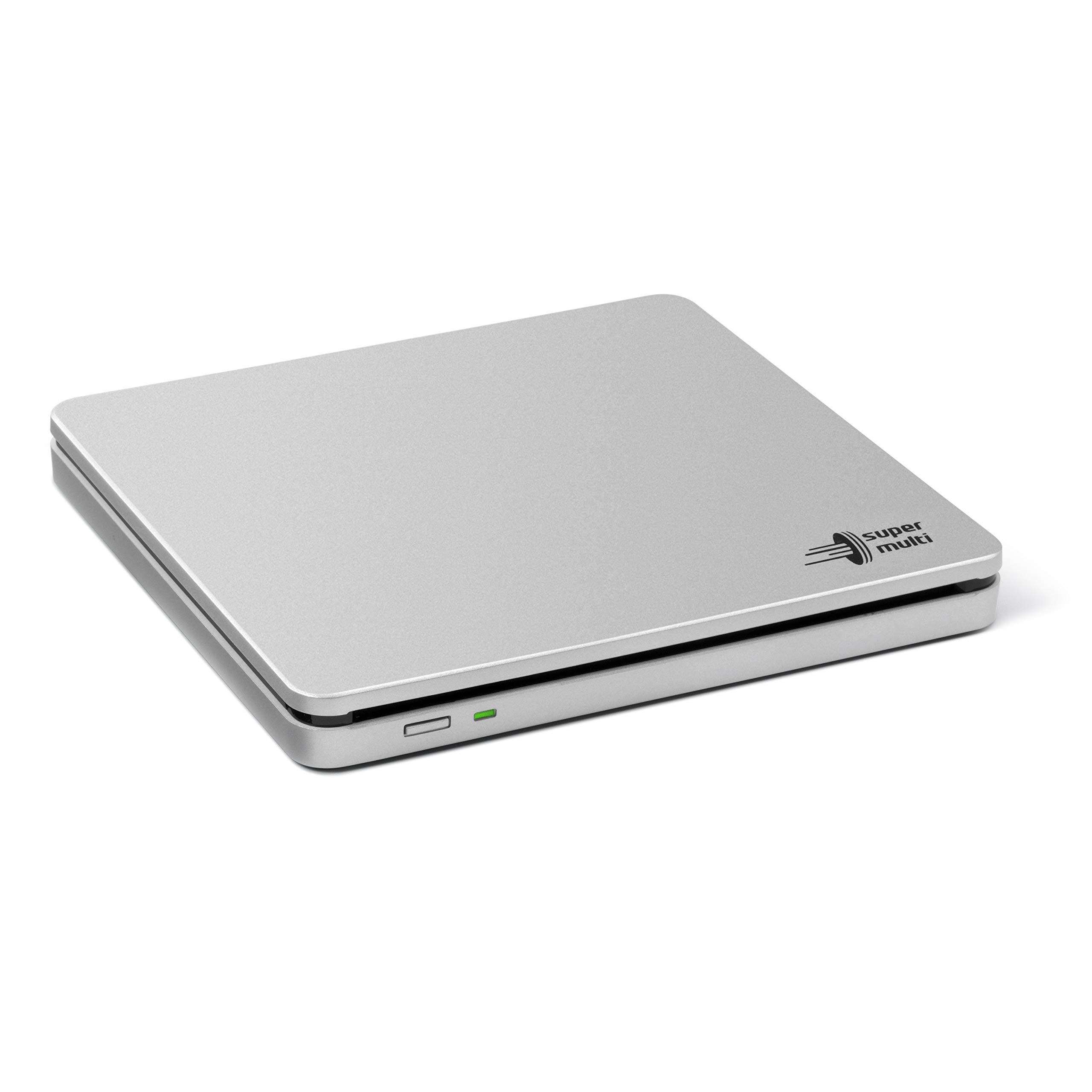 Hitachi-LG GP70 External DVD Drive, Slim Portable DVD Player/Writer for Laptop, Desktop PC, USB 2.0, Windows and Mac OS Compatible,with TV Connectivity, M-Disc Support, 8x Read/Write Speed - Silver