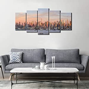 Artsbay New York City Canvas Print Wall Art Manhattan Skyline at Sunset Panorama Pictures Giclee Art Print Modern Buildings Cityscape Painting Photography Framed Home Decor for Office Ready to Hang