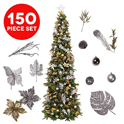 assorted easy treezy christmas ornaments set 150 piece seasonal holiday decor decoration sets for trees