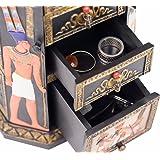 Boite à bijoux, boite à clés style Egypte Antique, 21,5 x 8,7 x 14,5 cm