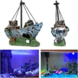 Superdream Resin Fishing Boat Aquarium Ornament Plastic Decoration Sunken Pirate Ship Theme
