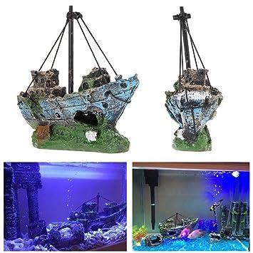 Amazon Com Superdream Resin Fishing Boat Aquarium Ornament Plastic