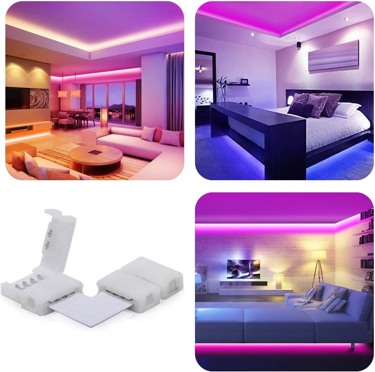 5050 4-Pin RGB Strip Light Solderless 90 Degree Corner Connector for LED Strip Lights L-Shape LED Connector 20pc