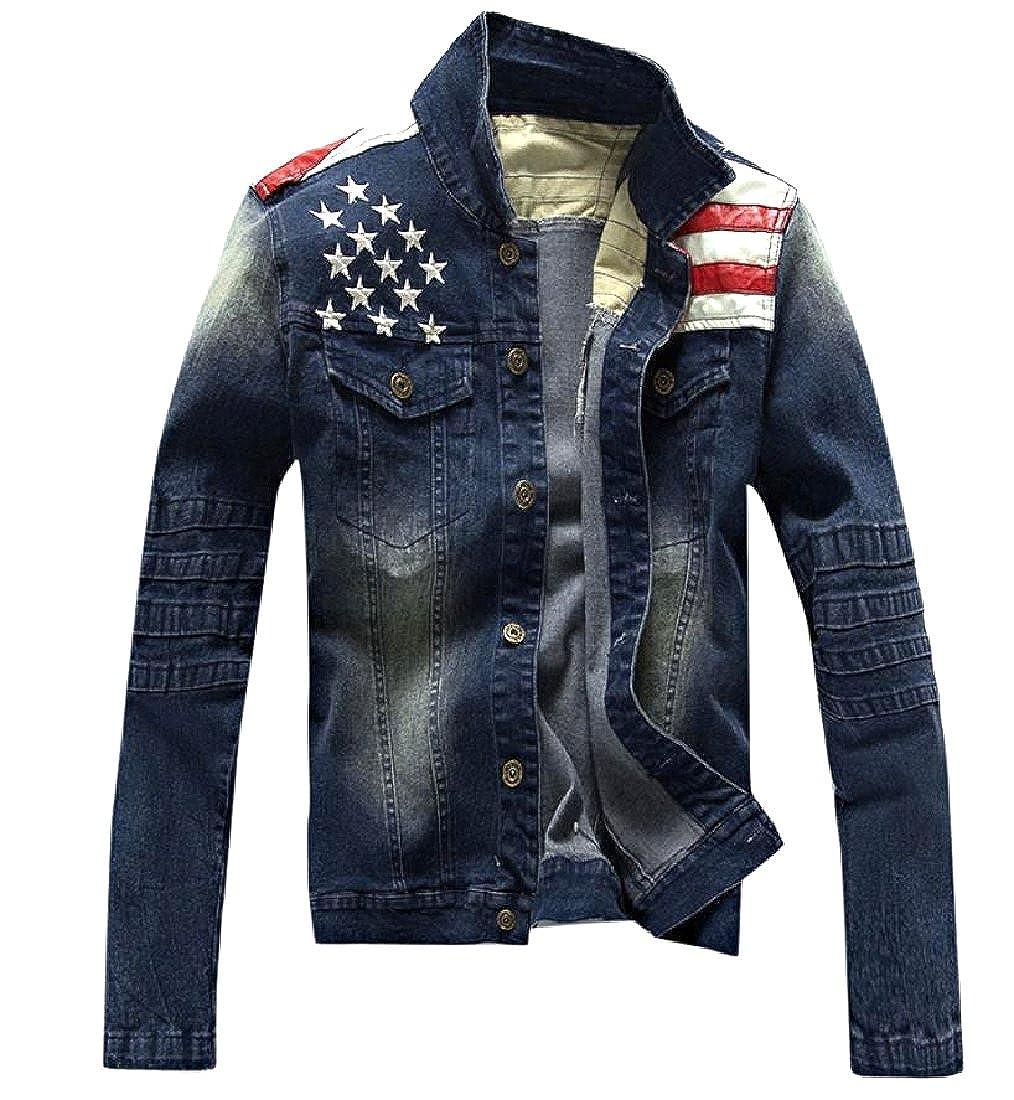 RDHOPE-Men USA Flag Regular Fit Long Sleeve Denim Jacket with Pockets