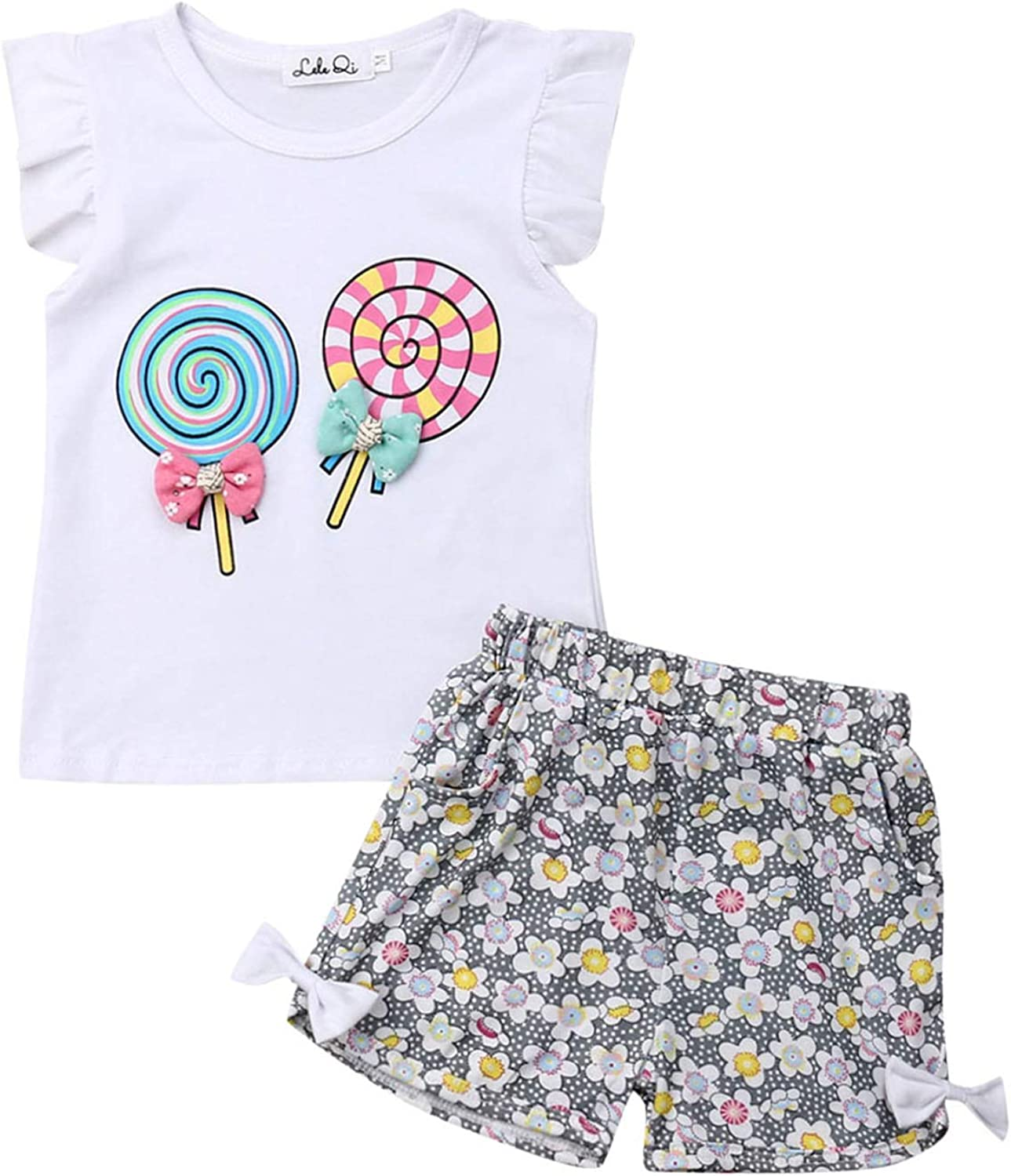 Toddler Baby Girl Summer Clothes Ruffle Sleeve T-Shirt Vest Tops+Floral Shorts Pants Outfit