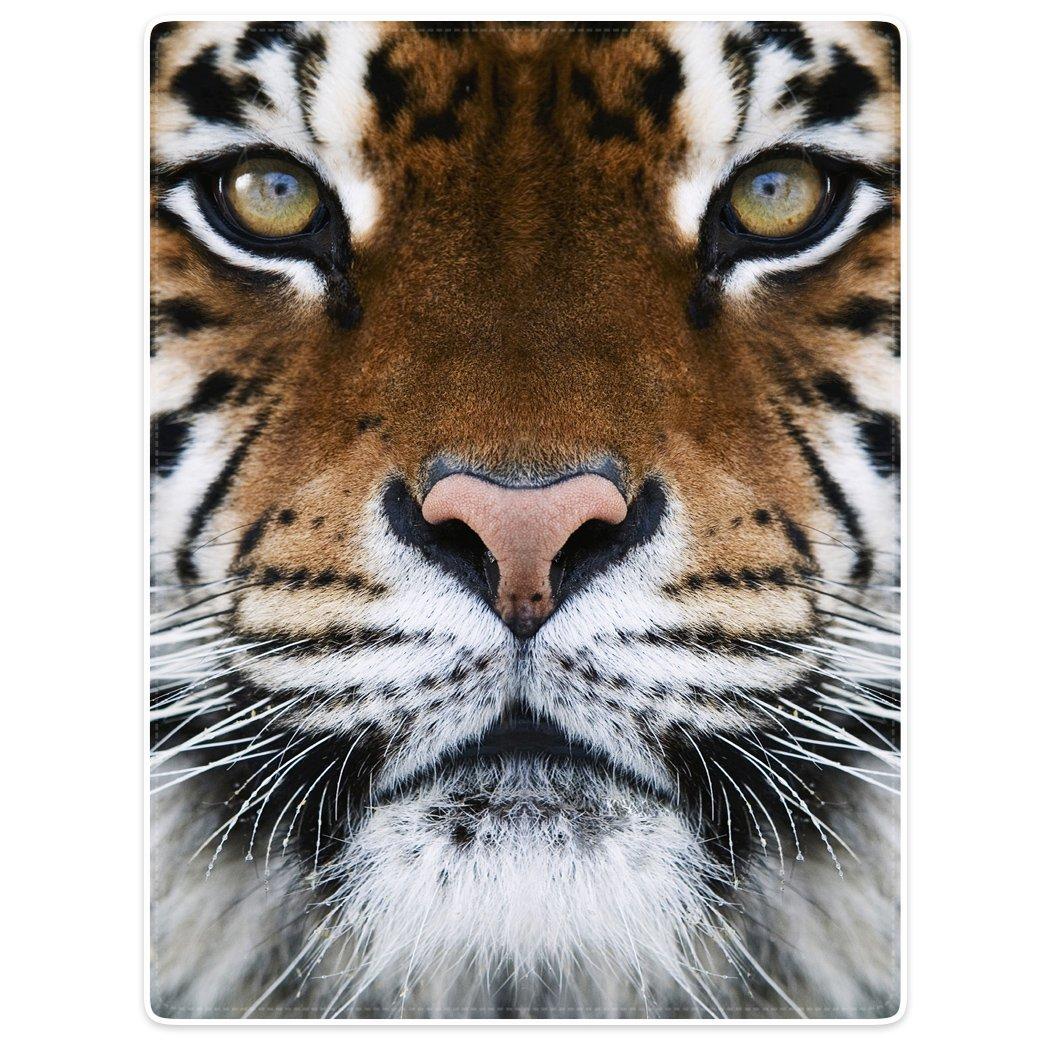 Blankets Fleece Blanket Throw for Sofa Bed Animal Print Tiger Face 60'' x 80''