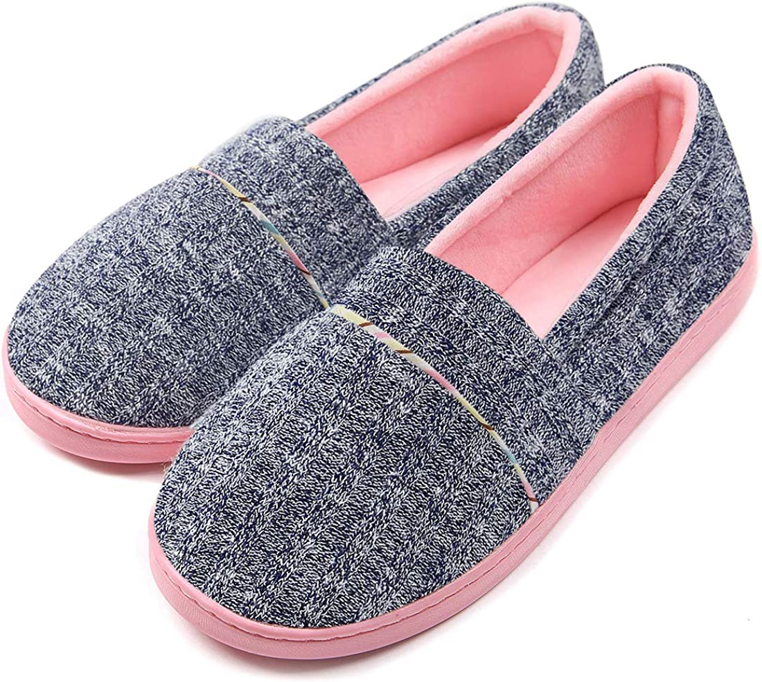 ChicNChic Women Comfortable Cotton Knit Anti-Slip House Slipper Washable Slip-On Home Shoes