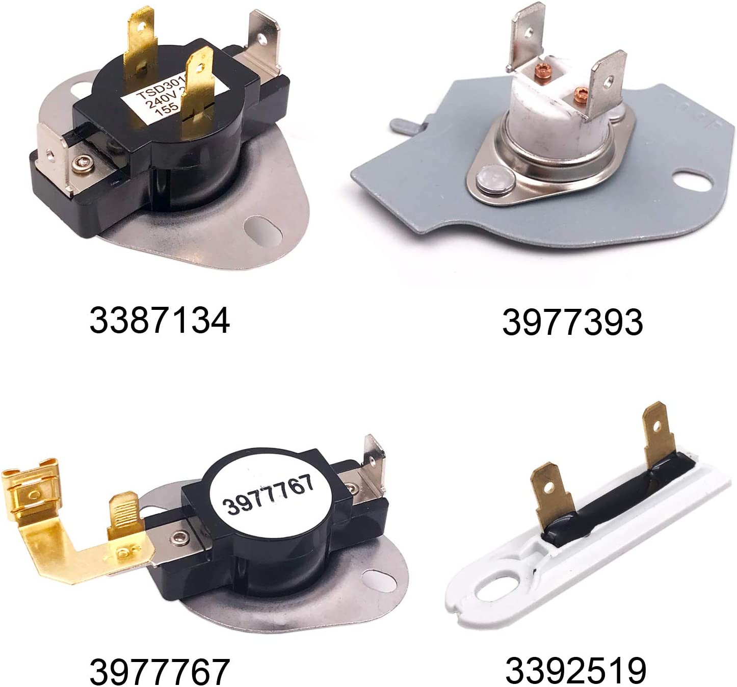 3387134 Dryer Thermostat 3392519 Dryer Thermal Fuse 3977767 Dryer Thermostat 3977393 Thermal Fuse Compatible with Whirlpool Kenmore Maytag KitchenAid Dryer Replaces Parts Replaces Parts 3399693