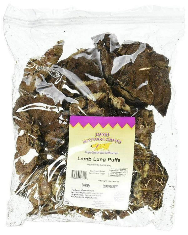 Jones Natural Chews JN00790 Lamb Lung Puffs, 1 lbs. by Jones