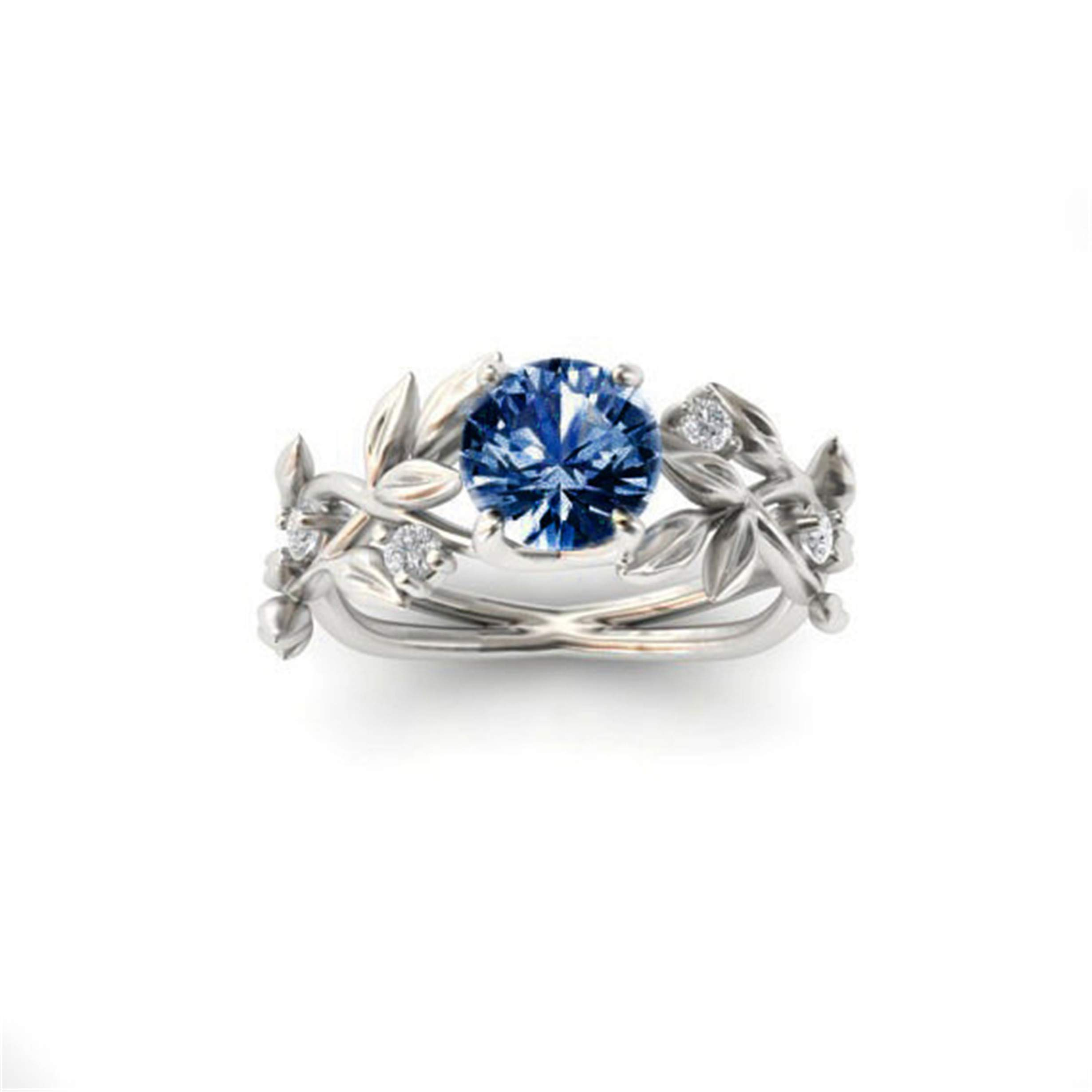 ✔ Hypothesis_X ☎ Women's Silver Floral Diamond 24 Flower Vine Leaf Dark Blue Zircon Rings Wedding Gift