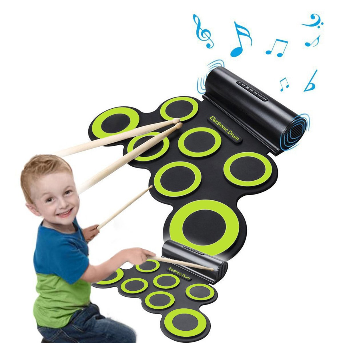 Rechargeable Electronic Roll-Up Drum Kit, Foldable Drum Set Built in Speaker With DrumSticks, Foot Pedals CoastaCloud 7 Drum Pads With Headphone Jack For Practice Starters Kids