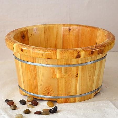 Yaltol Baignoire Domestique Foot Bath Pied Barrel Foot Massage Bassine Bois Foot Bath Bain De Pieds Bois Cuve De Lavage De Pied En Bois Epaissir Un Baril De Pedicure En Bois Massif Ameublement