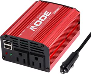 NGNWOB Continuous 300W Power Inverter DC 12V to 110V AC Car Converter with 2 USB outlets and 2 AC outlets Laptop Phone