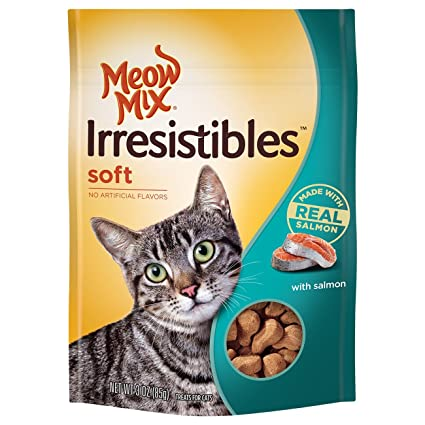 Soft Cat Food >> Amazon Com Meow Mix Irresistibles Soft Cat Treats With Real Salmon