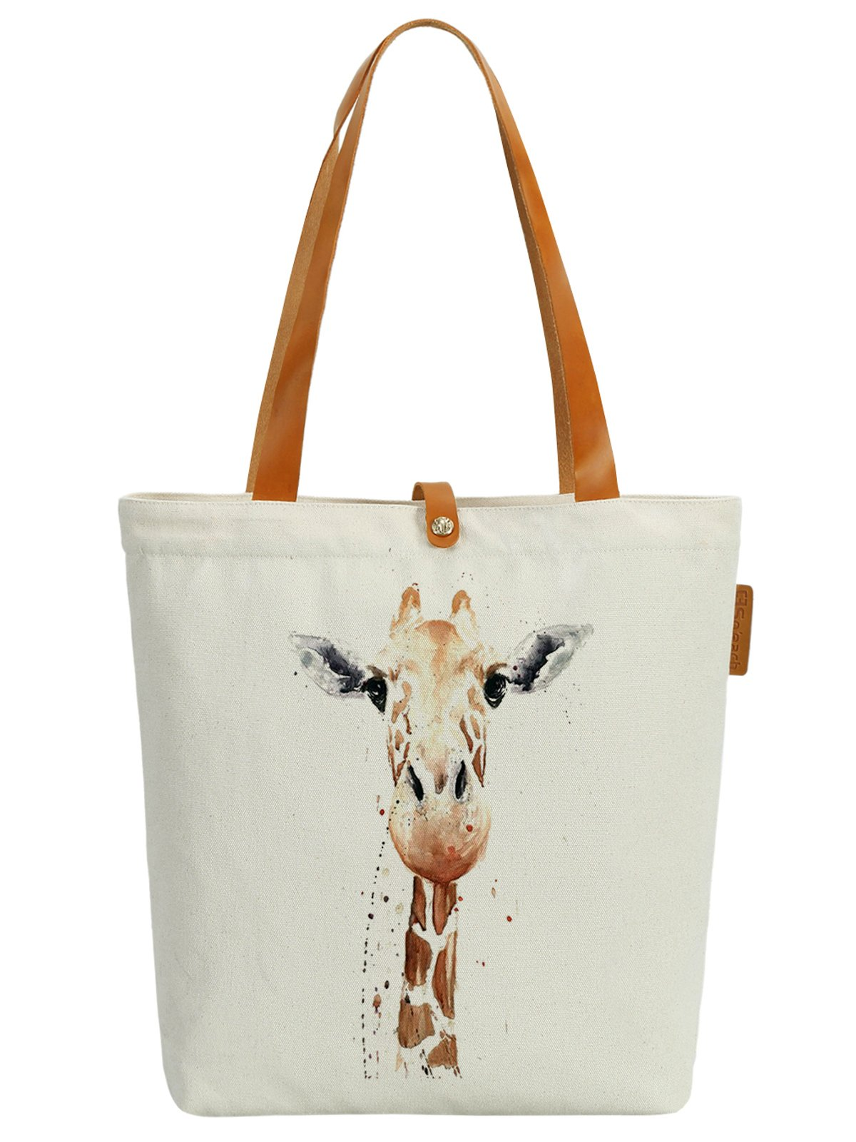 So'each Women's Animal Giraffe Art Graphic Top Handle Canvas Tote Shoulder Bag