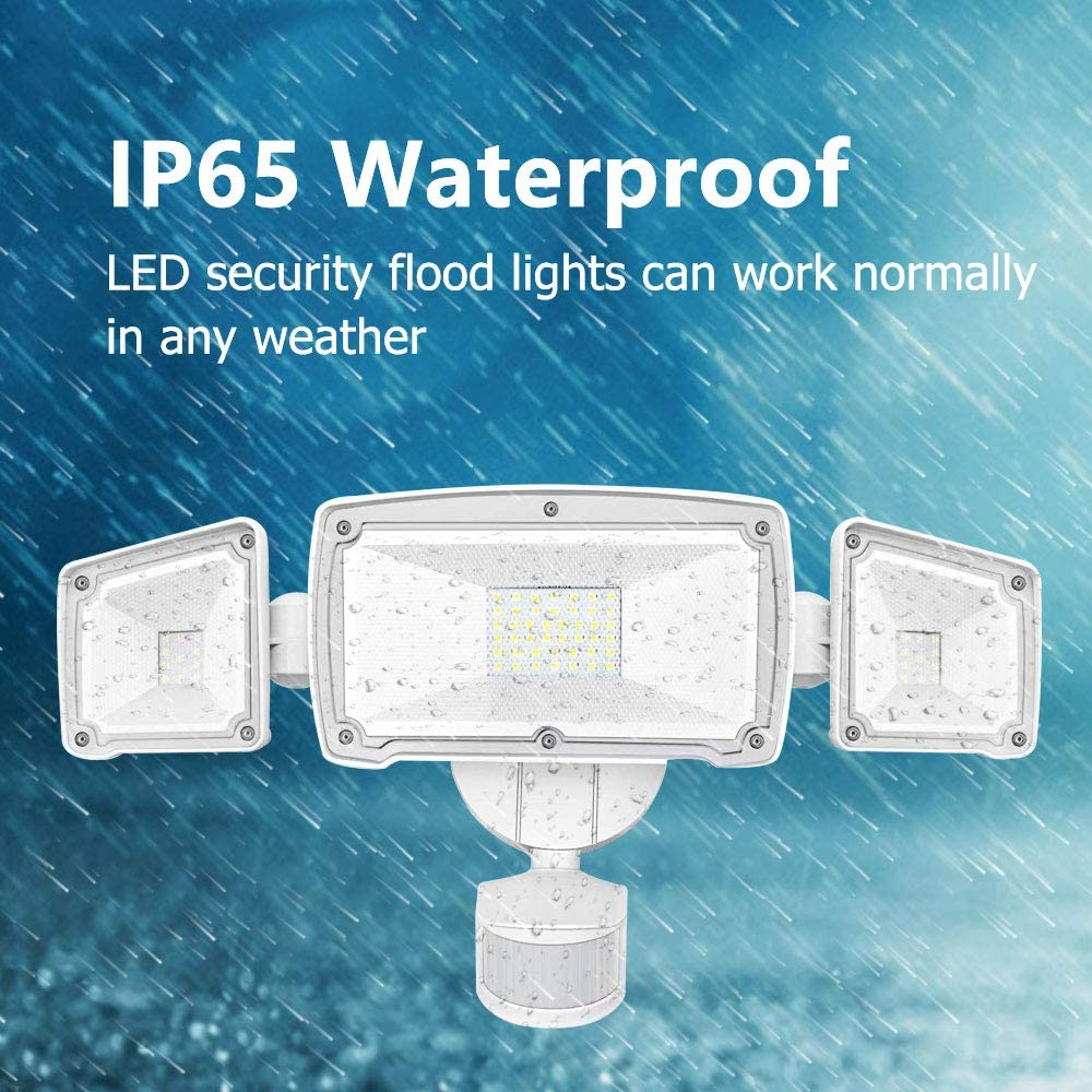 Harmonic LED Security Lights Outdoor 4000LM, 42W 6000K Super Bright Motion Sensor Light, 3 Adjustable Head, IP65 Waterproof Flood Light Outdoor for Entryways, Stairs, Yard and Garage - -