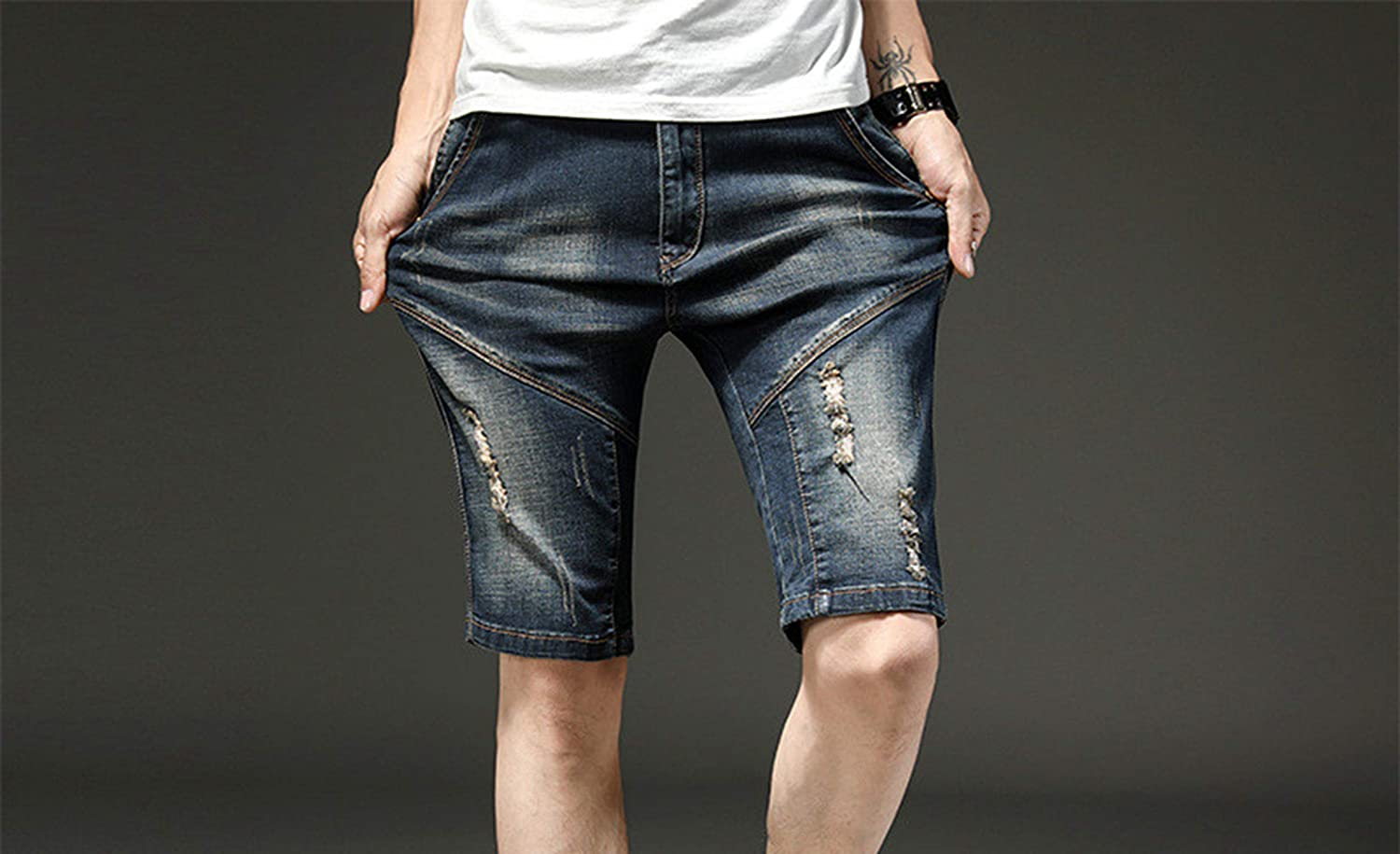 Mens Summer Ripped Short Jeans with Holes Washed Straight Distressed Denim Shorts Knee Length