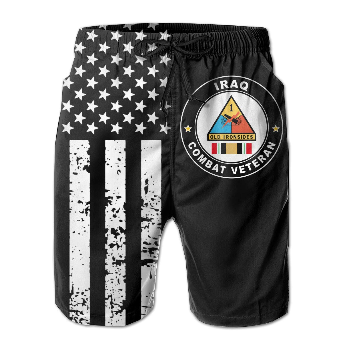1st Armored Division Iraq Combat Veteran Mens Summer Casual Boardshort with Mesh Lining