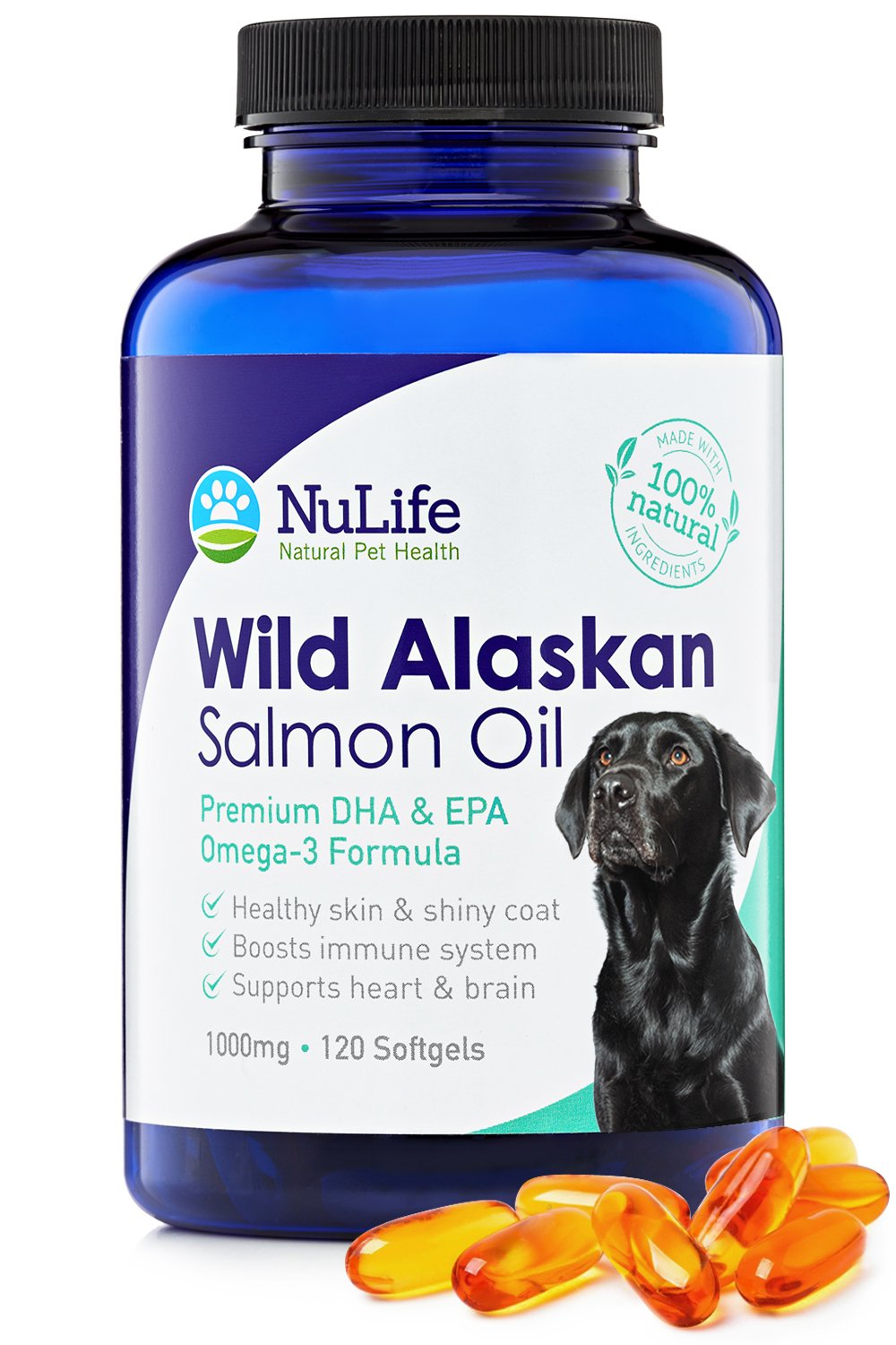 NuLife Natural Pet Health Pure Wild Alaskan Salmon Oil for Dogs, Omega 3 Fish Oil Supplement for Healthy Skin & Shiny Coat, Prevents Itchy Skin, Skin Allergies & Shedding, 120 Soft Capsules by NuLife Natural Pet Health