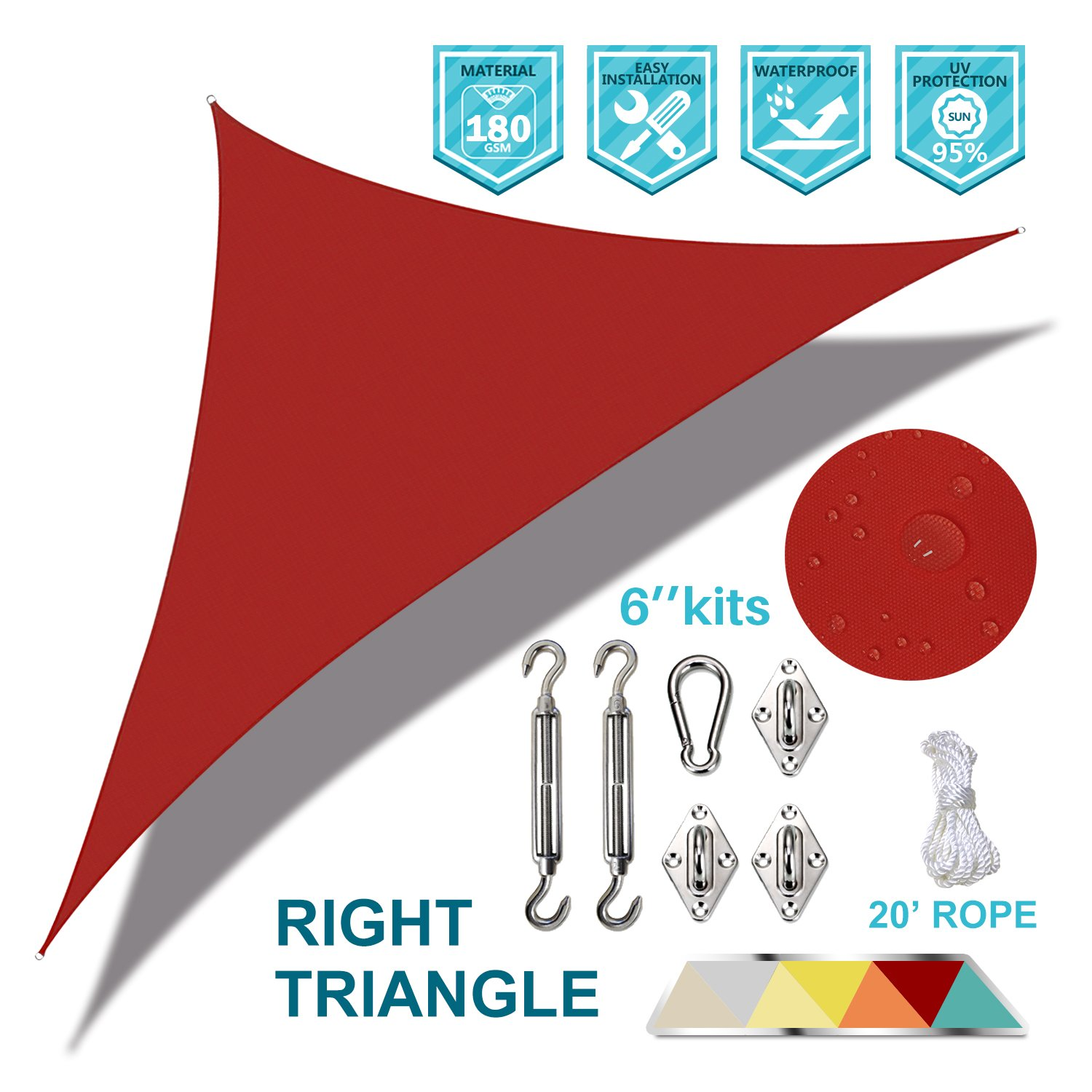 Coarbor Waterproof 12 x15 x19.2 Red Right Triangle Sun Shade Sail Canopy Fabric Shade Cover with Hardware Kit 180 GSM Polyester for Deck Pergola Carport Patio Yard- Customized Size