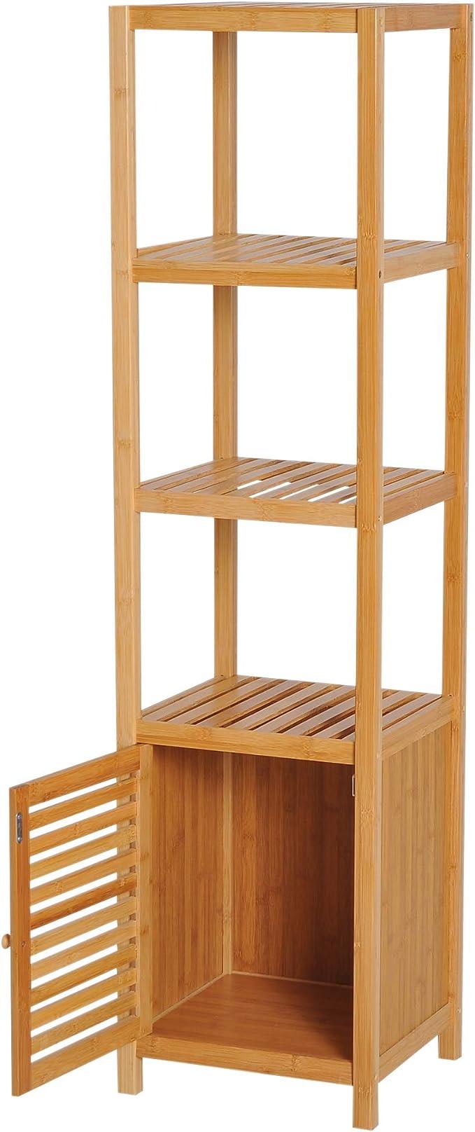 HOMCOM Estantería de Bambú para Baño Armario Alto Librería ...