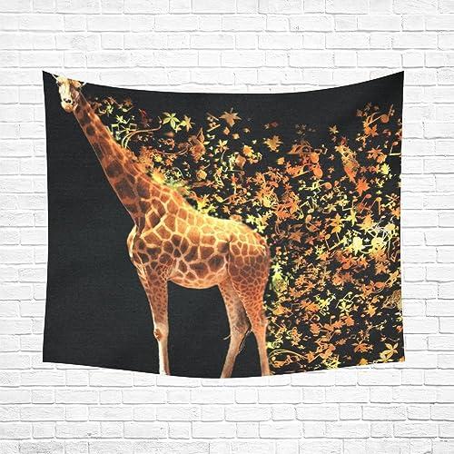 INTERESTPRINT Custom Home Decor Giraffe Cotton Linen Wall Tapestry 60 x 51