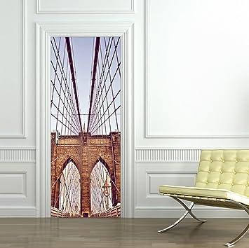 HKKIJIN New York Brooklyn Bridge Schlafzimmer Wohnzimmer Tür Holz ...