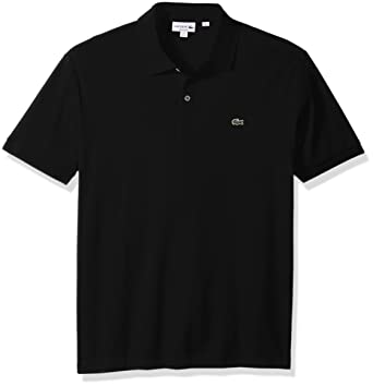 5525b0f5 Lacoste Men's Short Sleeve Pima Jersey Interlock Regular Fit Polo, Black,  Small